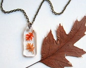 Two Autumn Leaves - Real Autumn Oak Leaves Woodland Necklace - botanic jewelry, pressed leaves, Autumn necklace, oak leaves, woodland, ooak
