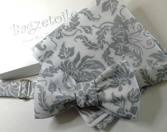 "Men's bow tie and pocket square,  white and grey - cotton print - adjustable to collar size 14 to 18 1/2"" -  self-tie for men."