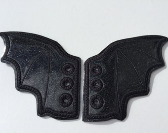Glitter Faux leather bat wing  inspired shoe wings great for Comicon