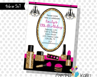 Printable Girlie Glitter and Sparkle Sequins Birthday Makeup Spa Party Invitation - Printable Digital File