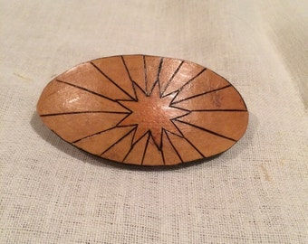 Barrette, Nine Pointed Star Woodburned onto a Gourd Shard.