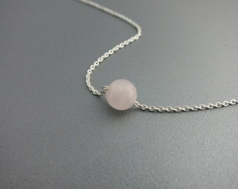 Tiny Rose Quartz Silver Necklace Sterling Silver Rose Quartz Necklace