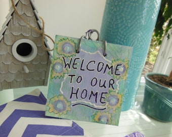 Welcome - Drastically Reduced - Welcome Front Door Sign - Wooden Welcome Plaque - Welcome To Our Home - Soft Tones Purple Aqua Mint Yellow