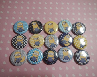 15  Blue Minion Boy Inspired Character Pinback Button Shower Goody Gift Treat  Party Favors Brooches