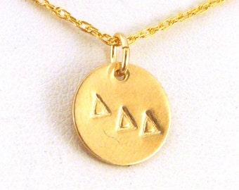 Gold Delta Delta Delta Necklace - Gold Tri Delta Jewelry - Simplicity Series - Official Licensed Product