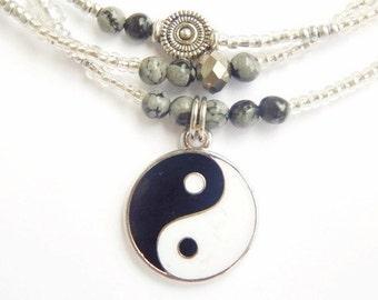 Yin-Yang Obsidian Waist Beads,  Black & White Waist Beads, Obsidian Belly Chains, Yin-Yang Belly Beads