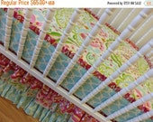 SALE--VALENTINES SALE---- Made to Order-- Bumperless Crib Bedding-- Girl Crib Bedding--Kumari Garden