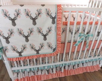 Deer Crib Bedding- Girl Baby Bedding- MADE TO ORDER- Baby Bedding- Stag Bedding- Coral and Mint