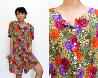 Floral Romper / 90s Romper / Wide Leg Button Up Romper Short Sleeve Brown Red Jumpsuit / Button Up One Piece Hipster Playsuit Oversized XL