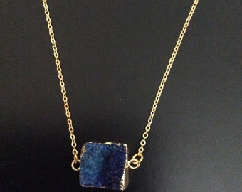 Druzy blue necklace with gold plated chain