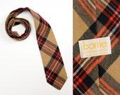 vintage tartan plaid tie Scottish 100% wool tan red black flannel necktie Barrie Scotland mens vintage tie vintage menswear