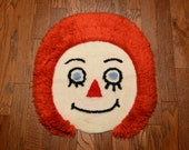 "vintage 70s latch hook rug Raggedy Andy Ann 1970 home decor 1970s craft project clown face wall hanging 26"" yarn art"