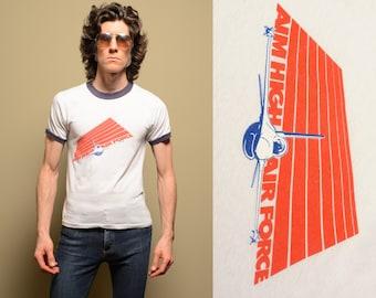 vintage 80s Air Force ringer shirt USAF Aim High t-shirt vintage armed forces USA shirt medium M U. S. Air Force ringer tee