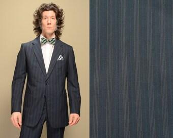 mens vintage suit 70s pinstripe suit navy blue working cuff rope shoulder bespoke 1970 menswear 40 40R 40L custom tailored