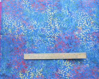 Marbled Blue Green Orange Yellow Leaf Vine 1 Yard Central Java Batik Quilting Cotton Fabric
