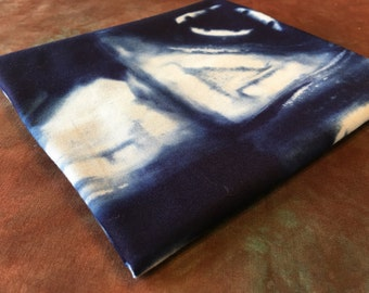 Hand Dyed Shibori - Navy Blue 3/8 of a Yard - Cotton Quilting Fabric - Fiber Art Supply - Home Dec Fabric