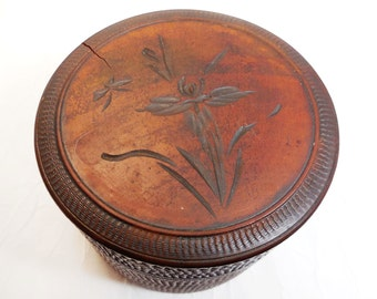 Vintage Round Wood Box and Coasters, Iris floral design, Mid Century Modern