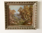 Stunning Vintage Plein Air Landscape Oil Painting, c1940, autumnal scene with mountains, on canvas board