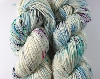 Light Worsted, DK, Superwash Merino, 100 grams, Hand Dyed Yarn, Stripes and speckles oh my!  , double knitting, yarn spring yarn
