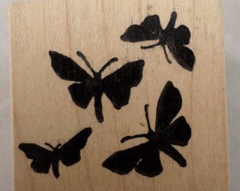 Magenta Solid Bold Negative Space Shadow Butterfly Wooden Rubber Stamp