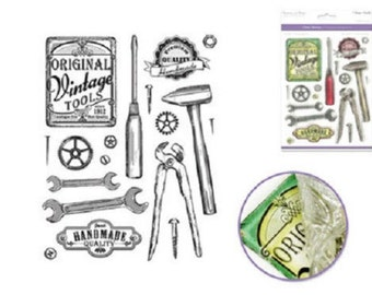 Forever in Time Cling Rubber Stamp Vintage Tools Set Wrench Hammer Handmade