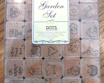 Dots Little Garden Set Of 30 Rubber Stamps Spring And Garden Themed