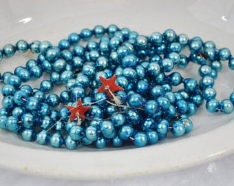 "Vintage Bright Blue Glass Bead Christmas Garland 8' Length 3/8"" Beads Turquosie Tree Decoration Repurpose Crafts 1950's"