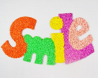 SMILE Sign Vintage Plastic Popcorn Wall Decoration Orange Green Yellow Pink Purple Melted Fused Dentist Photographer 1970's