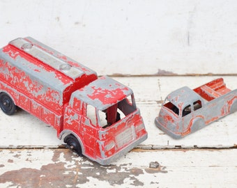 Tootsie Toys Fire Trucks Set of 2 Two Vintage Die Cast Metal Trucks Tankers Chippy Red Paint Collectible Toy Vehicles