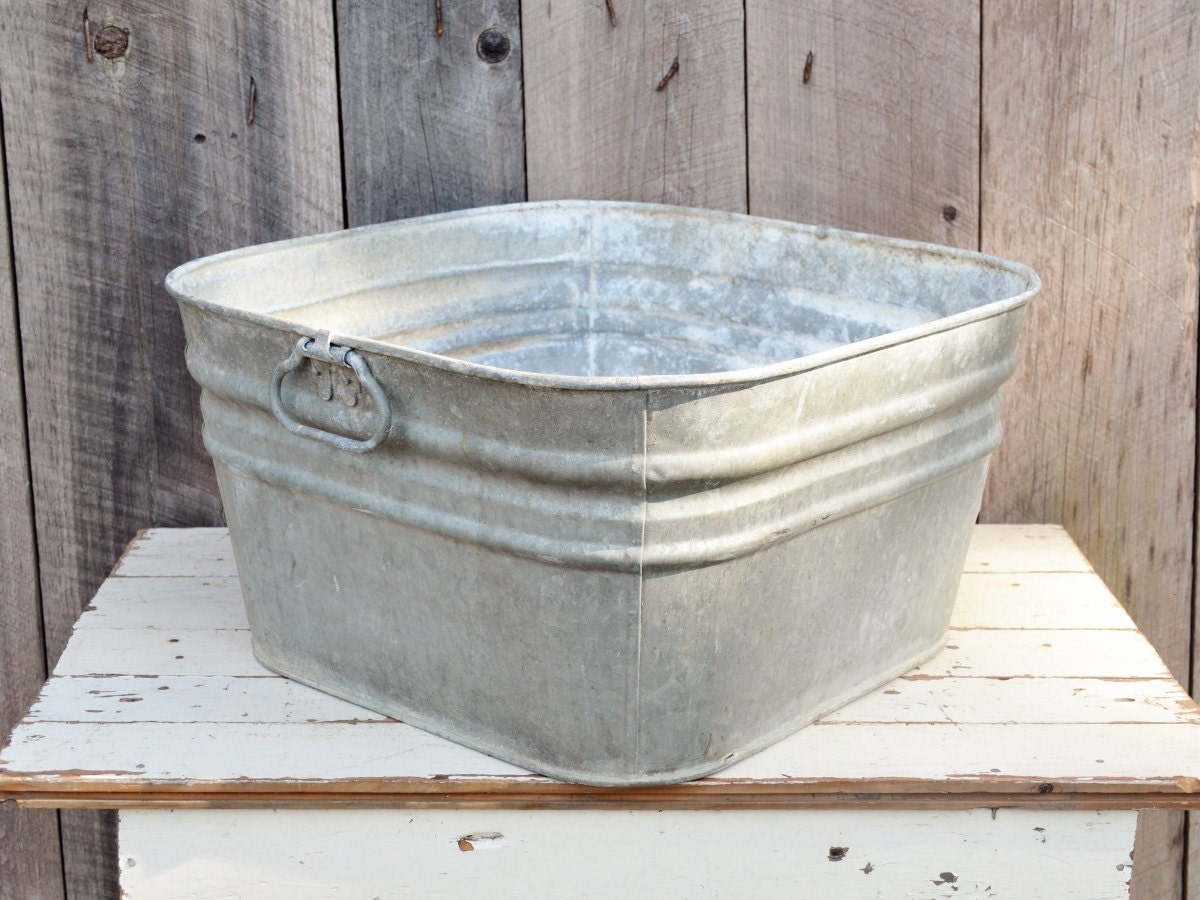 vintage square galvanized metal wash tub 42 rustic primitive