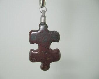 RA78 Autism Awareness Puzzle Piece Rock Pendant