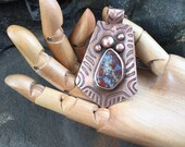 Etched Copper and Mossy Agate Pendant / Organic Design OOAK Artisan Necklace