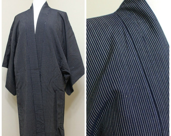 Men's Happi Jacket. Vintage Japanese Silk Ikat Folk Wear. Indigo Blue Traditional Coat (Ref: 1353)