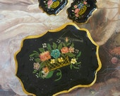 Vintage Mid Century Toleware Brooch PIN Earrings Set Unique