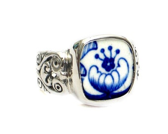 Size 10 Broken China Jewelry Spode Blue Italian R Sterling Ring