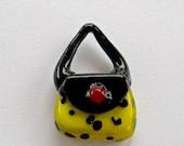 Yellow/Black Purse Glass Lampwork Bead Pendant