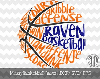 Messy Raven Basketball design INSTANT DOWNLOAD in dxf/svg/eps for use with programs such as Silhouette Studio and Cricut Design Space