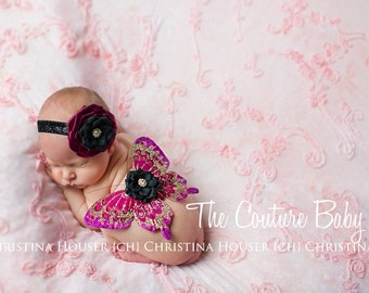 Fuchsia & Pink Glitter Wing and Headband Photo Prop Set 1st photos
