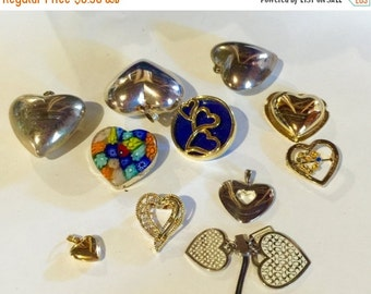 MOVING SALE Half Off Destash  Craft Lot of Vintage and Salvaged Heart Pendants  Charms and Jewelry Pieces