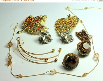 SPRING SALE Shades of Orange and Brown Vintage and Salvaged Colorful Rhinestone Jewelry Parts and Pieces for Repurposing