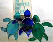Sea Turtle Stained Glass Suncatcher Handmade 2016