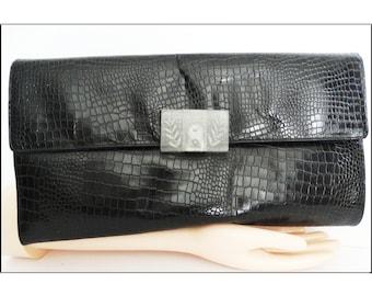 Vintage 1940s Purse//40s Purse//Carved Lucite Clasp//Clutch//40s Clutch//Black//1940s Black Clutch//