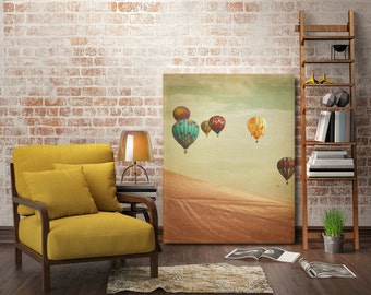 "Hot Air Balloon Photography Canvas, large canvas photo, hot air balloons, ""Wanderers"""