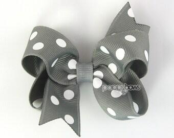 Gray Hair Bow - Polka Dot hair bow - girls hair bow - 3 inch hair bows - toddler hair bow - baby hair bow - little girl hairbows - non slip