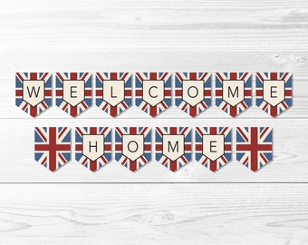 Welcome Home Union Jack Flag Missionary Banner -- Welcome Home Banner, UK, LDS Missionary, Homecoming Party, Printable, Instant Download