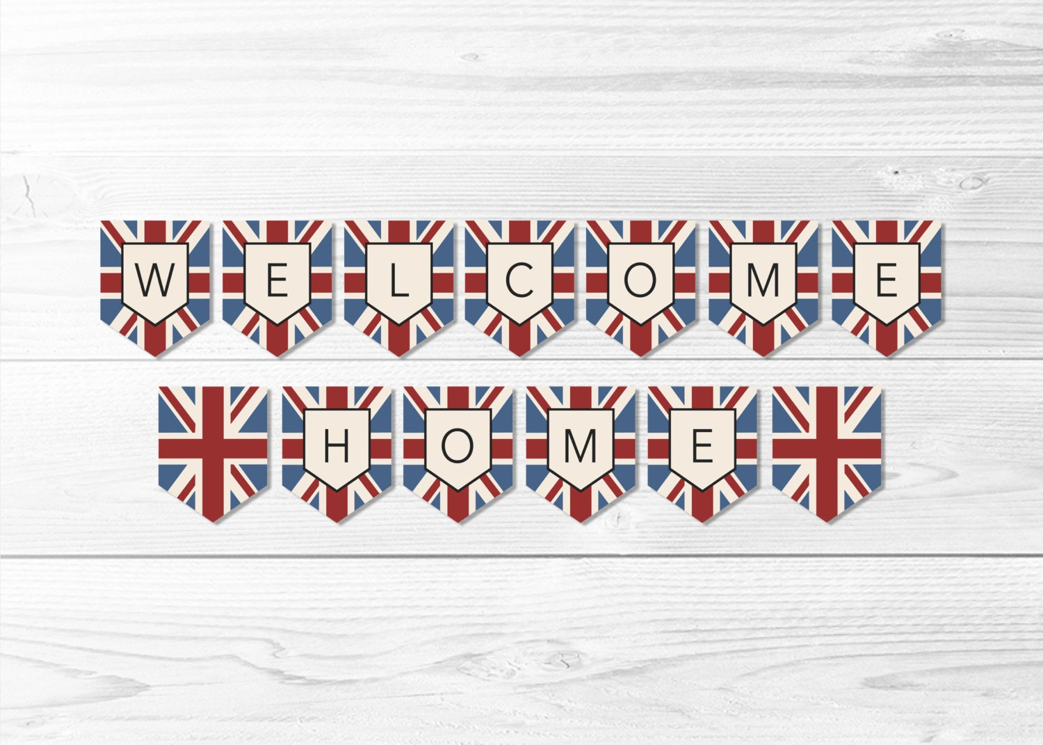 welcome home union jack flag banner british flag banner