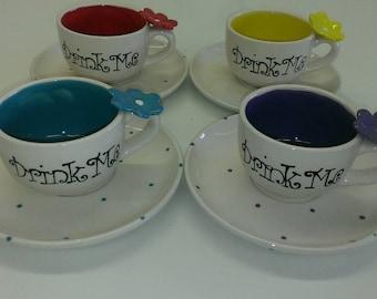 "Mad Hatter Tea Cup & Saucer ""Drink Me"""