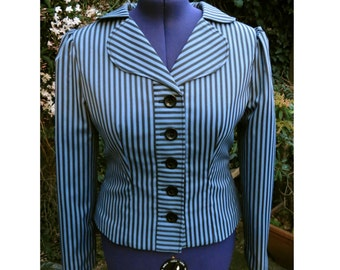 ode to Peggy Carter blue and black stripe jacket 1940s style jacket UK seller
