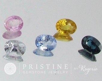 Natural Sapphire Lot Oval Shape Over 6 Carats Pink, Blue, Yellow for Jewelry