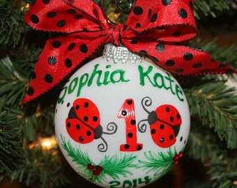 First Birthday Ladybug Personalized Ornament - Handpainted and made to order with black Swarovski rhinestones as the spots on the ladybug
